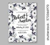 anemone wedding invitation card ... | Shutterstock .eps vector #573366970