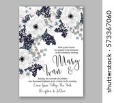anemone wedding invitation card ... | Shutterstock .eps vector #573367060