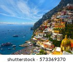 beautiful positano colors ... | Shutterstock . vector #573369370