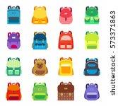 pupil s colorful backpacks set. ... | Shutterstock .eps vector #573371863
