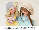 Two Handmade Rag Dolls With...