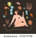 beautiful young naked woman... | Shutterstock .eps vector #573373798
