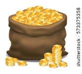 bag full of gold coins. vector... | Shutterstock .eps vector #573375358