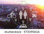 car sharing high angle traffic... | Shutterstock . vector #573390616