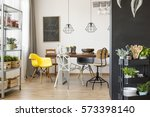 bright interior with communal... | Shutterstock . vector #573398140