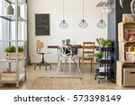 dining room area with dining... | Shutterstock . vector #573398149