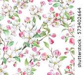 watercolor spring floral... | Shutterstock . vector #573402664