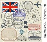 travel stamps or symbols set... | Shutterstock .eps vector #573404878