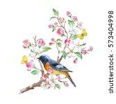 watercolor spring card blossom ... | Shutterstock . vector #573404998