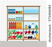 counter with food in magazine....   Shutterstock .eps vector #573406084