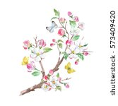 watercolor card blooming apple... | Shutterstock . vector #573409420