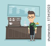 caucasian friendly barista... | Shutterstock .eps vector #573419323