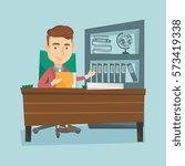 caucasian office worker working ... | Shutterstock .eps vector #573419338