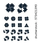 jigsaw puzzle icons collection  ... | Shutterstock .eps vector #573421390