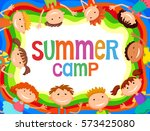 children around banner cartoon... | Shutterstock .eps vector #573425080