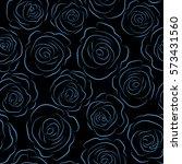monochrome flowers silhouette... | Shutterstock . vector #573431560