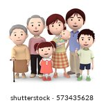 3d illustration  big family... | Shutterstock . vector #573435628