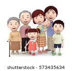 3d illustration  big family... | Shutterstock . vector #573435634