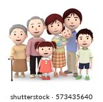 3d illustration  big family... | Shutterstock . vector #573435640