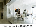 view at young multiethnic team... | Shutterstock . vector #573435928