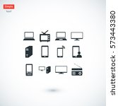 communication device icons ... | Shutterstock .eps vector #573443380