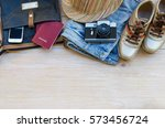 essential travel accessories ... | Shutterstock . vector #573456724