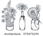 set of floral compositions.... | Shutterstock .eps vector #573473194