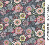 seamless pattern with flowers ... | Shutterstock .eps vector #573473380
