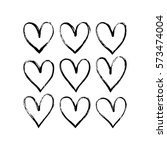 set of hand drawn hearts.... | Shutterstock .eps vector #573474004