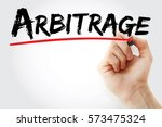 Small photo of Hand writing Arbitrage with marker, concept background