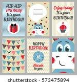 set of 6 cute creative cards... | Shutterstock . vector #573475894
