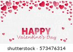 sticker from pink paper hearts... | Shutterstock .eps vector #573476314