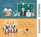 education banner  professor and ... | Shutterstock .eps vector #573478666