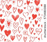 love pattern with hand drawn... | Shutterstock .eps vector #573480388