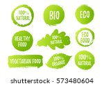Vector natural, organic food, bio, eco labels and shapes on white background. Hand drawn stains, leaves set. | Shutterstock vector #573480604