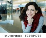 portrait of 40 years old woman  | Shutterstock . vector #573484789