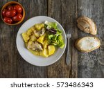 baked meat with potatoes with... | Shutterstock . vector #573486343