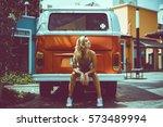 beach lifestyle  beautiful... | Shutterstock . vector #573489994