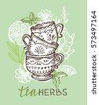 tea time. tea is always good... | Shutterstock .eps vector #573497164