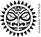 maori sun design isolated on... | Shutterstock .eps vector #573497818
