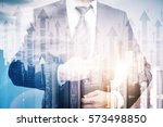 businessman on abstract city... | Shutterstock . vector #573498850