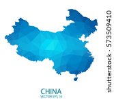 china map   blue geometric... | Shutterstock .eps vector #573509410
