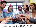 happy coworker drinking... | Shutterstock . vector #573510193