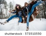 young couple in love have fun... | Shutterstock . vector #573510550