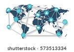 world map with social media...   Shutterstock .eps vector #573513334