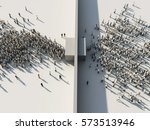 crowd of people passing through ...   Shutterstock . vector #573513946