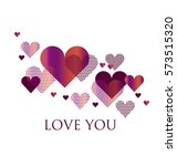 pink and white geometry hearts... | Shutterstock .eps vector #573515320