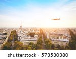 travel to france  airplane... | Shutterstock . vector #573530380