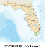 florida vector road map with... | Shutterstock .eps vector #573531124