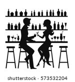 man and woman night out date ... | Shutterstock .eps vector #573532204